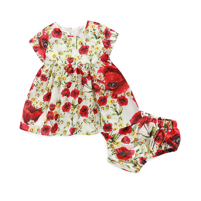 Baby Dress Princess Flower Girl Dress 2pcs Baby Dress+Pp Shorts Infant Baby Clothes Set Summer Baby Girl Dresses