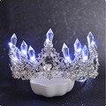 Neue Glänzende Glowing Tiaras Weiß Blau Beleuchtung Strass Hochzeit Crown Luxus Prinzessin Diadem Krone Für Braut Haar Zubehör