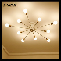 10 Head Nordic American Minimalist Modern Lighting Wrought Iron Bedroom Living Room Lights Ceiling Lamps