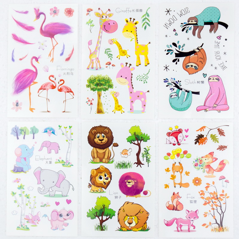 6sheets/lot Temporary Tattoos Sticker Arm Tattoo Set Small Cute Animals Fox Lion Elephant Giraffe Flamingo Girl Children Party