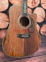 Высокое качество OEM Cutaway koa Акустическая гитара + 41 дюймов + эбеновый гриф + настоящая Роскошная оболочка abalone инкрустация + бесплатная доставк