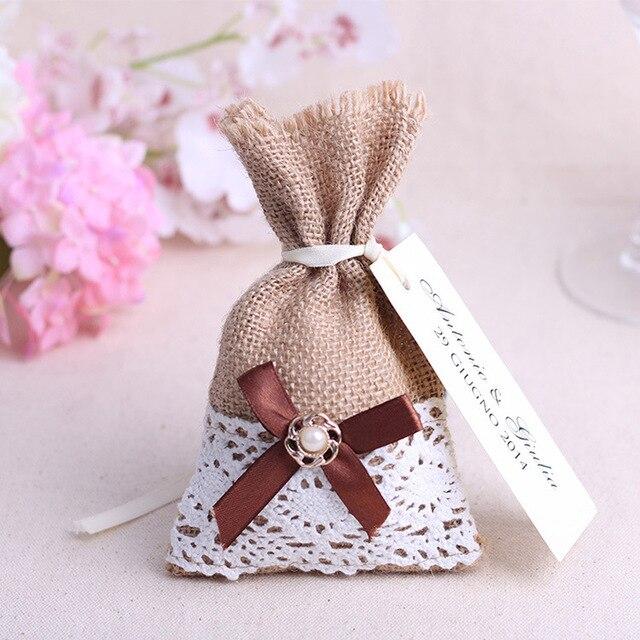 Free Shipping 500pcs Rustic Burlap Sack Wedding Favor Bags Candy