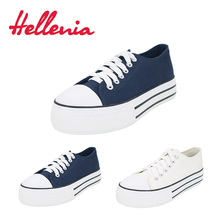 Купить с кэшбэком Hellenia 2018 shoes women canvas shoes classic shallow navy white lace-up flats shoes women Vulcanize  Casual shoes size 36-41