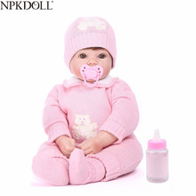 NPKDOLL 22 inch 55cm Silicone Reborn Baby Dolls Alive Lifelike Real Dolls Reborn Realistic Reborn Babies Girl Toys Birthday Gift new silicone reborn dolls realistic natural babies toys for girls lifelike reborn babies birthday gift blue princess doll