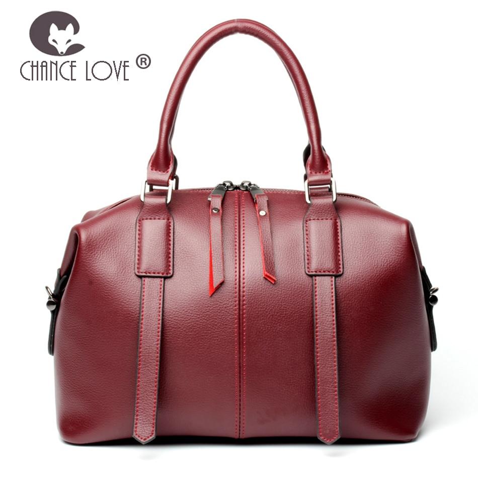 Chance Love women bag 2018 new Genuine leather handbag wine red crossbody bag wide shoulder strap Tote bag Messenger bag female chance love bag female women 100