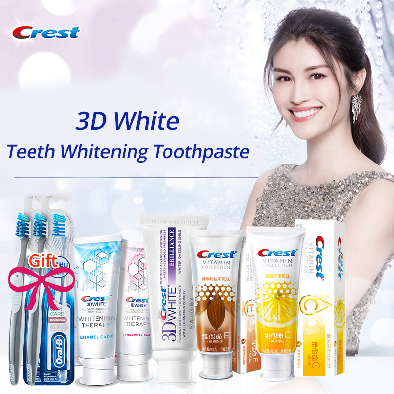 Crest 3D White Toothpaste and Cross Action Toothbrush Teeth Whitening Brillance Vitamin Protection Sensitivity Care Deep Clean image