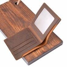 Portefeuille en cuir de vache véritable, 100%, portefeuille Vintage en cuir fou pour hommes, pochette rétro, poche, à deux volets