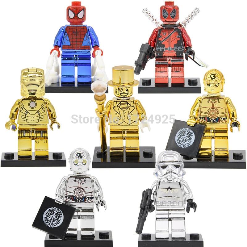 Mr Gold Figure Single Sale Chrom C3PO Deadpool Stormtrooper Iron Man Golden Building Blocks Sets Models