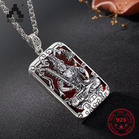 S925 Pure Sliver Vintage Fashion Nether Bodhisattva Pendant for Men Women Inlaid with Various Colors Jade Pendant