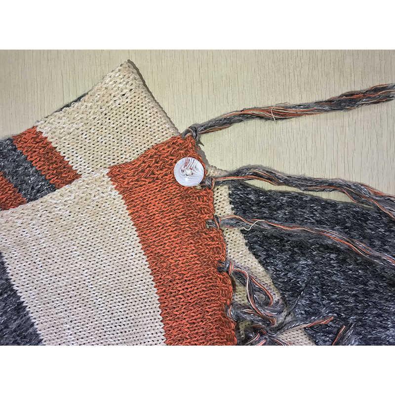 Cardigan pour femmes décontracté manteau à pompons, ample, en tricot rayé, Long manteau pour dames, Cardigan pour femmes