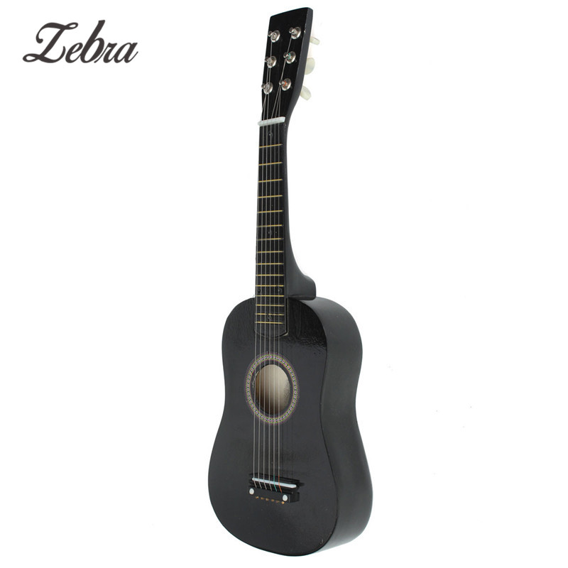 zebra 23 inch 6 strings black basswood acoustic guitar instrument with guitar pick wire. Black Bedroom Furniture Sets. Home Design Ideas