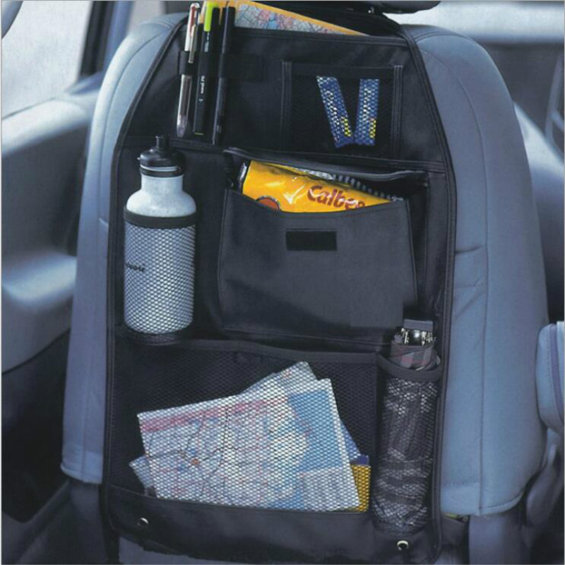 Universal Waterproof Car Back Seat Organizer Storage Bag Multi Pocket Hanging Pouch Assorted 58cmx38cm Auto Accessories Black(China)