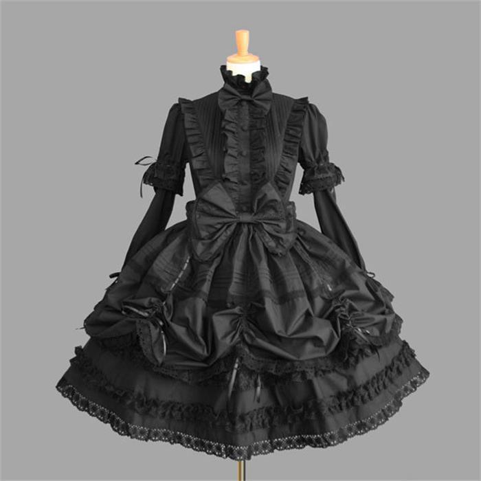 Robe Lolita gothique victorienne robe de princesse Halloween Costume Lolita Cosplay robe en couches pour femme de chambre jeux Cosplay