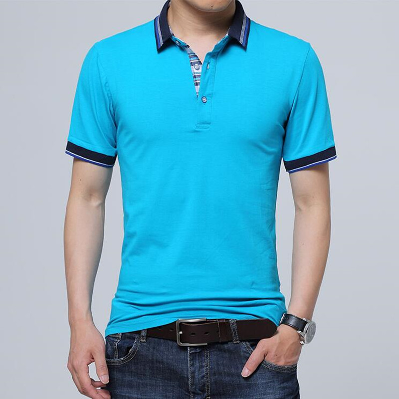 2019 Fashion Male summer High-grade pure cotton short sleeve   POLO   shirts/Men Color matching slim Fit leisure   POLO   shirts 5XL