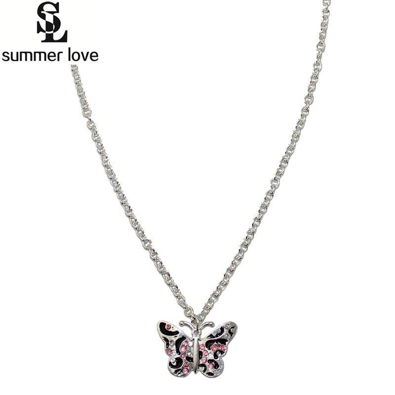 Summer Love crystal enamel butterfly pendant necklace girls s