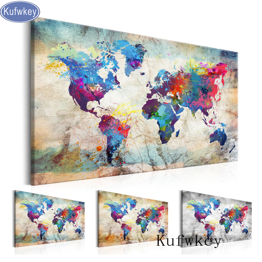 "5D DIY Diamond Painting Handicraft Cross Stitch ""World Map""Full Square Diamond Embroidery sale of pictures Home Decoration