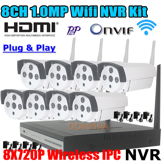 8ch Wireless NVR Kit P2P 720P 1.0MP HD Outdoor IR Night Vision Security IP Camera WIFI CCTV System smartphone P2P Remote view