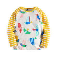 Little Bitty kids cartoon long sleeve t shirts with printed some birds baby girls boys yellow striped autumn clothing top 2018