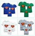 2015 mãe pai crianças camisetas meninos meninas roupas superman marca lot mãe filho roupas de verão mangas curtas 13 cores