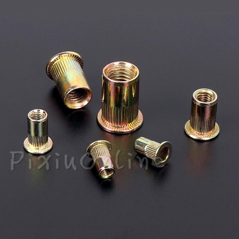 цены 20Pcs ST146b M3 M4 M5 M6 M8 M10 Rivet Nut Flat Head Zinc Plated Metric Knurled Nuts Rivnut Fastening Tools