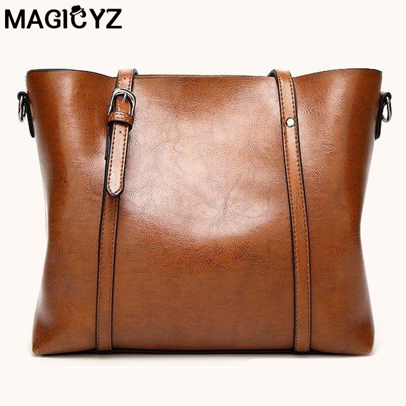 806624959da Women bag Oil wax Women s Leather Handbags Luxury Lady Hand Bags With Purse  Pocket Women messenger bag Big Tote Sac Bolsos Mujer - TakoFashion - Women s  ...
