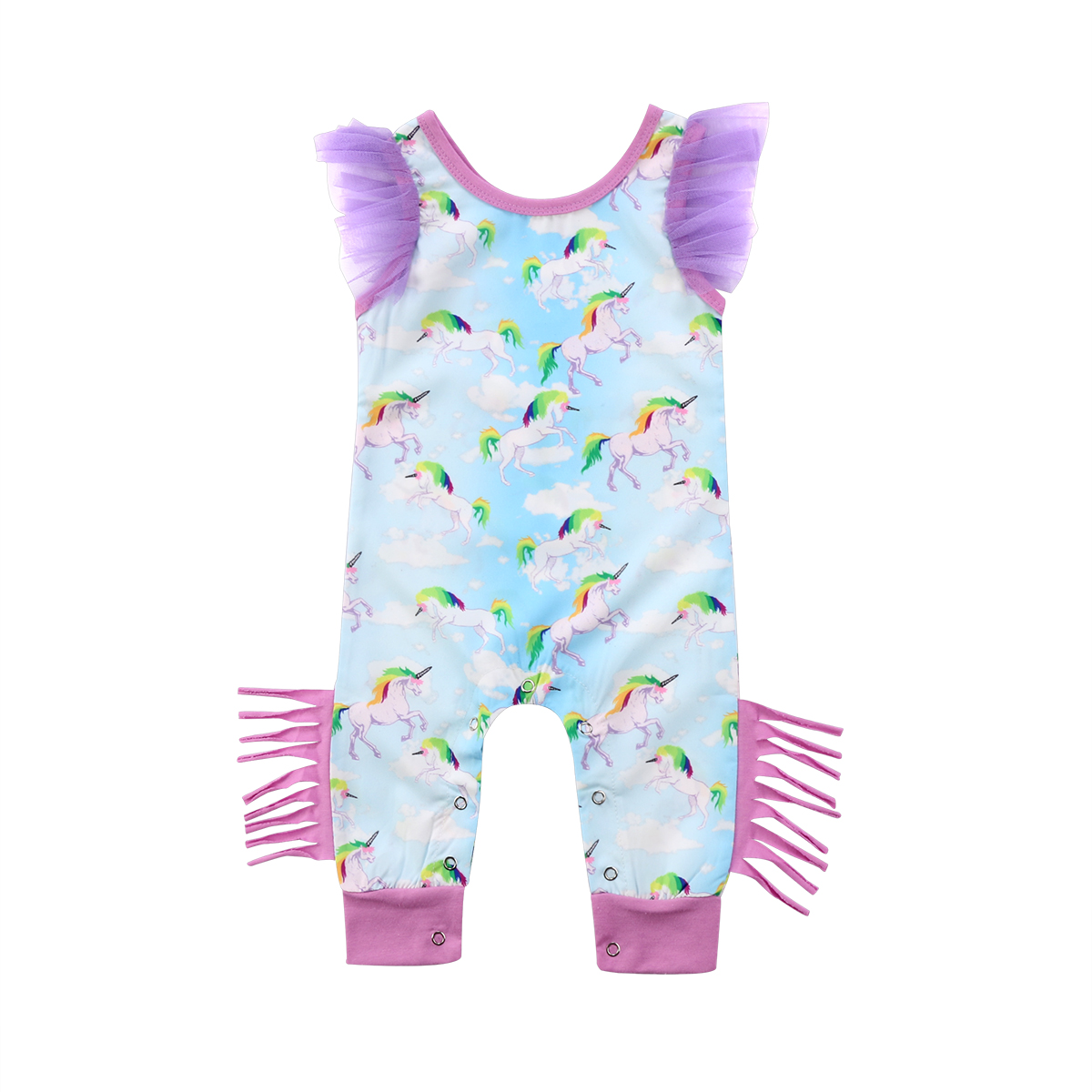 New Style Infant Baby Girls Clothes Short Sleeve Floral Unicorn Romper Jumpsuit Outfits Cotton Clothes