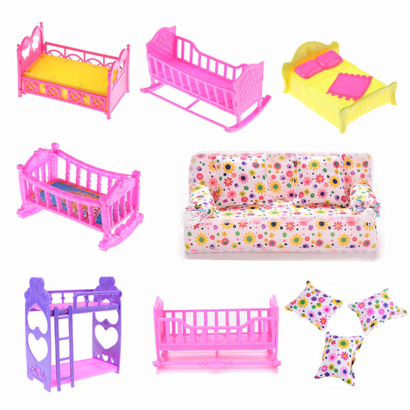Double BedFor Kelly girl Doll Bedroom Furniture Accessories Girls Gift Favorite Toys Cradle/Pillow Plastic/Cloth