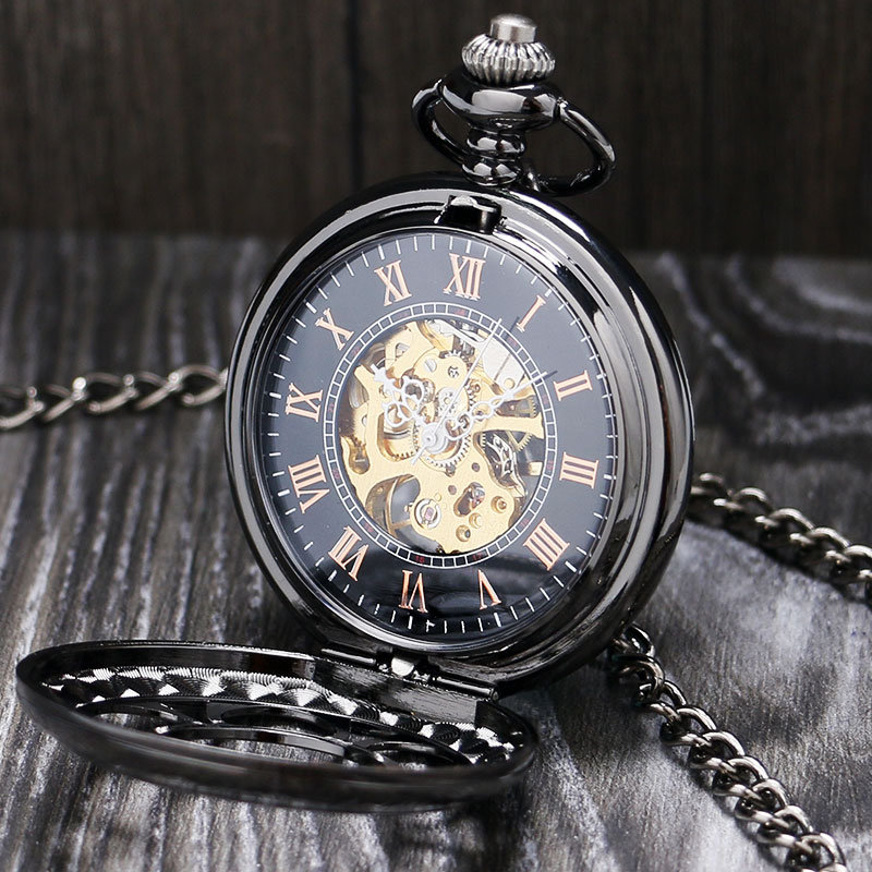 Lucury Steampunk Mechanical Pocket Watch Silver/Black Hollow Flower Steel Hand Wind Men Women Pendant Fob Chain Birthday Gifts russian vingtage silver soviet bolshevik mechanical fob pocket watch mens military pendant watch chain free ship