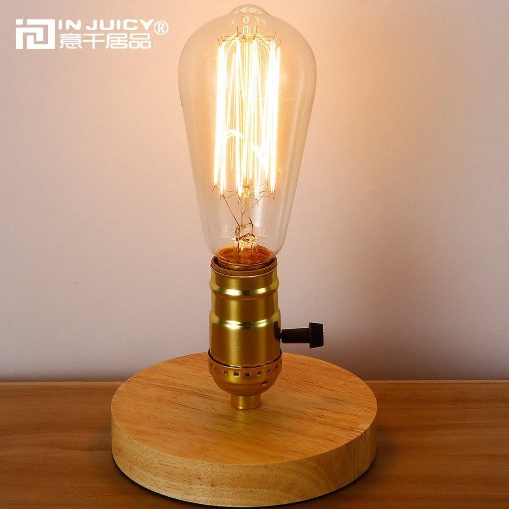 Vintage Industrial E27 Led Wood Table Light Antique Retro