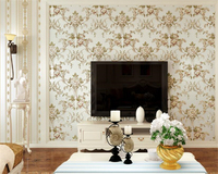 beibehang Big flower AB with stripe nonwoven fabric fine carving 3d wallpaper master bedroom full of high end papel de parede