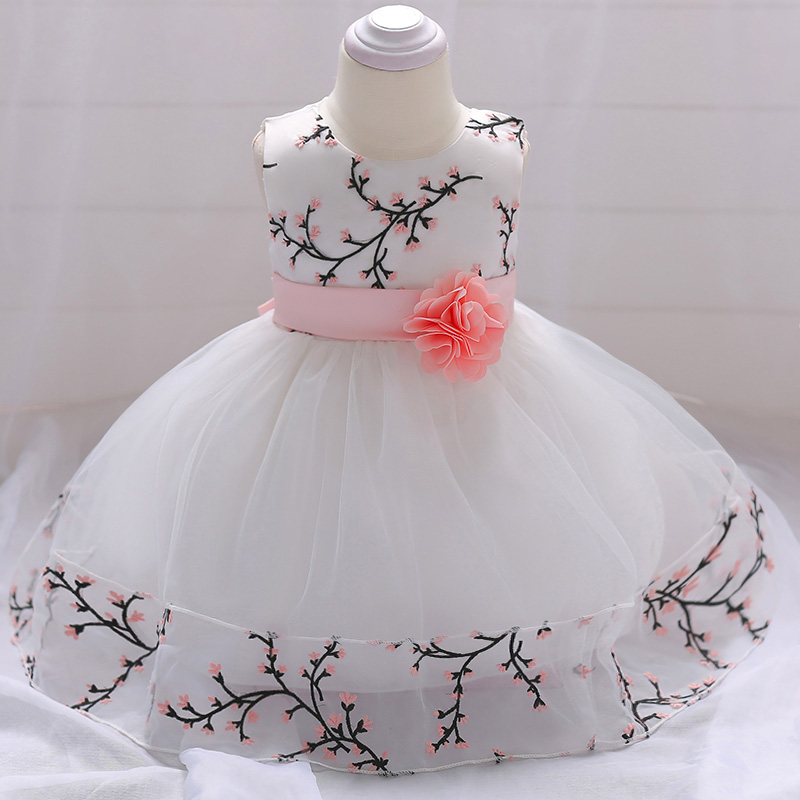 Retail Floral Vintage Little Baby Birthday Party Gown Dress With Floral Belt Elegant Boutiques Baby Girls Prom Dress L1849XZ