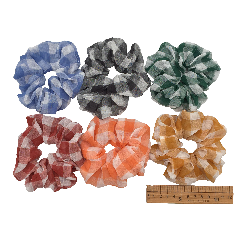 6 шт/лот Бархатные эластичные резинки для волос, резинки для волос для девочек, не складываются, леопардовые женские большие мелкие блестки из шифона с цветочным рисунком - Цвет: PJ095-B-6PCS