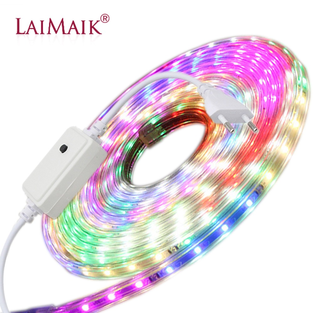LAIMAIK Colorful LED Strip Light AC220V 6 Color With Controller Strip LED Light Multicolor IP67 Waterproof LED Flexible Tape