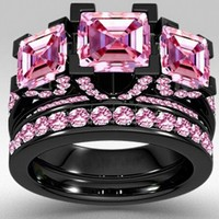 choucong Style Princess cut 6ct Pink Sapphrie 5A Zircon stone Black gold 925 Sterling silver Engagement Wedding band Ring Set