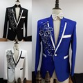 Men Slim Casual (Jacket + Pants + Tie) Suits Sequins Embroidered Rhinestone Male Host Wedding Dress Man Singer Dancer Costume