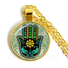 Hamsa Hand Amulet Lucky Necklace Jewelry Fatima Hand Judaica Kabbalah Charm Miriam Hand Sweaterchain Jewelry For Women Men Kids(China)