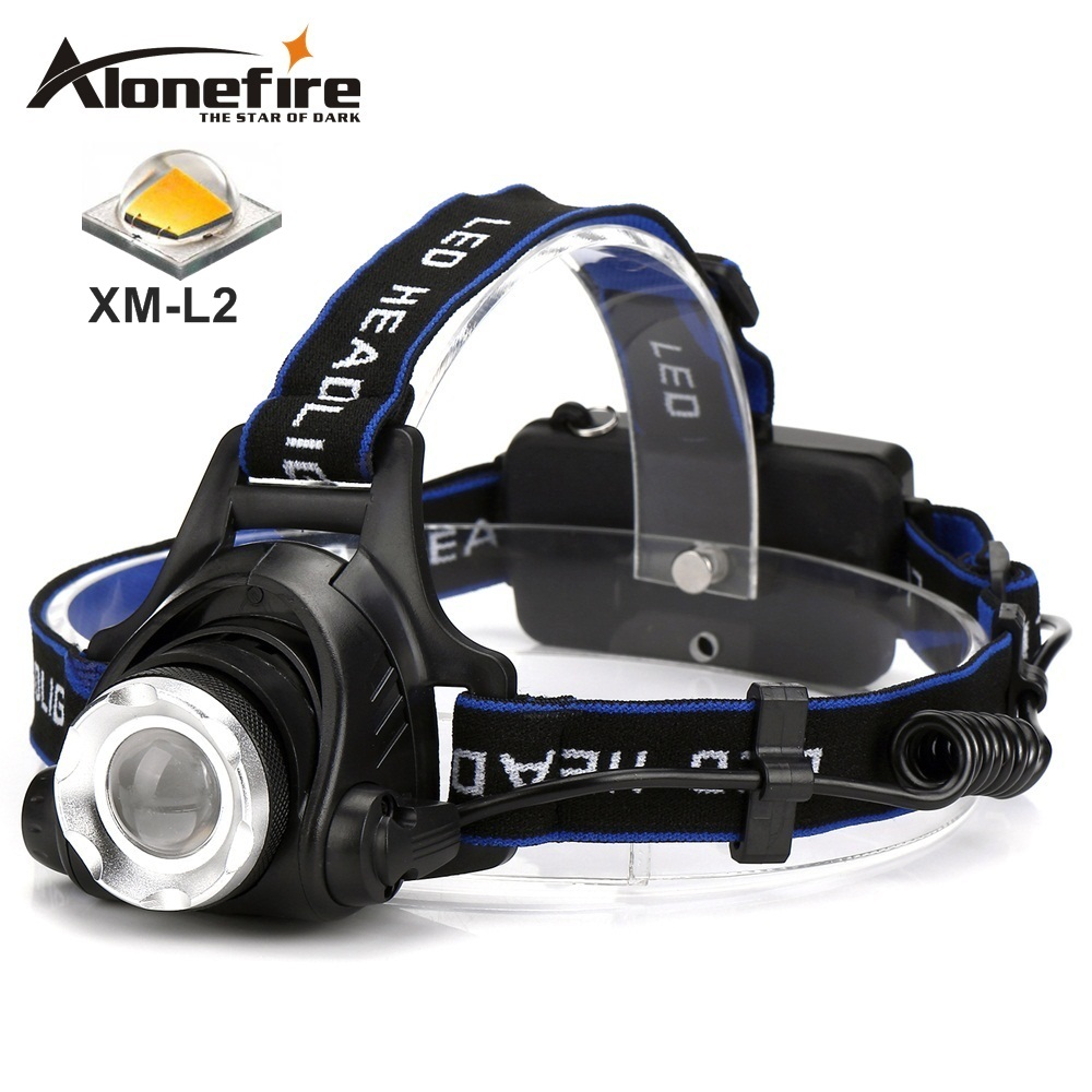 AloneFire HP79 Head light CREE XM-L2 LED 5000LM Zoom Phare Voyage Camping Projecteur 18650 Rechargeable Batterie randonnée Tête lampe