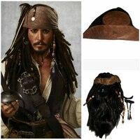 Cosplaydiy Filme Piratas do Caribe Capitão Jack Sparrow Cosplay Headwear Chapéu de Cabelo do Bigode Barba Accerrories Adereços