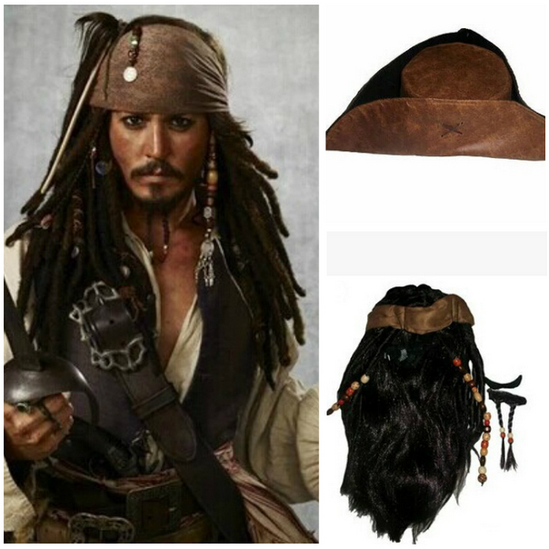Cosplaydiy Movie Pirates of the Caribbean Captain Jack Sparrow Cosplay   Headwear   Hat Hair Moustache Beard Accerrories Props