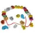 26 шт./лот деревянные животных фрукты блок нанизывая игрушки для детей обучения и образования красочные продукты