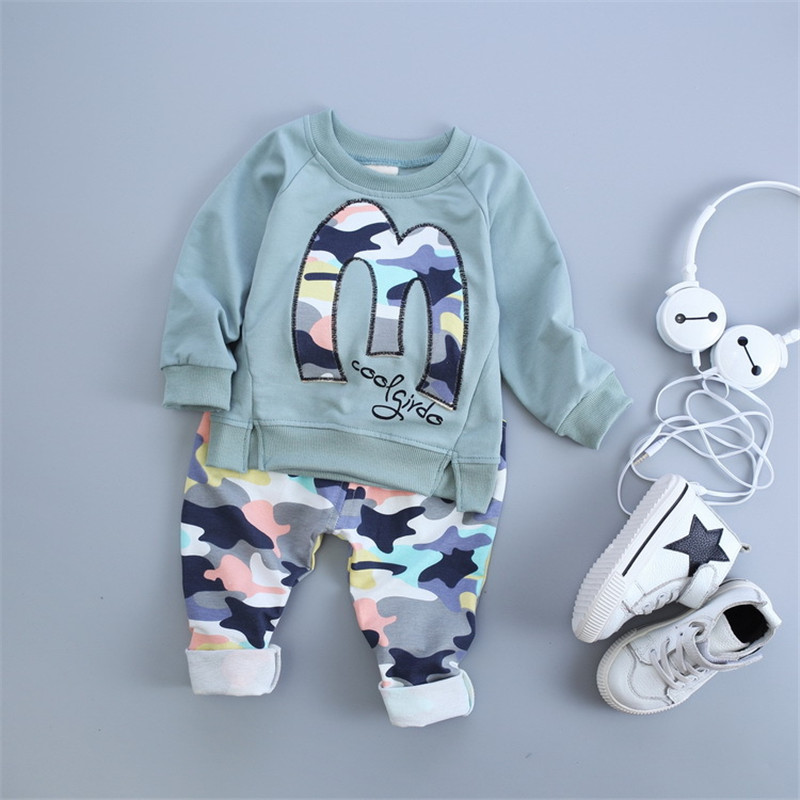 2017 fashion spring summer cartoon letter M Camouflage kids baby clothing set baby girl boy clothes