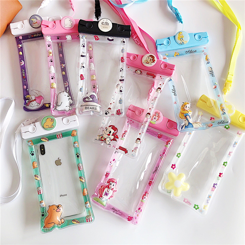 Cartoon Waterproof Pouch Swimming Float Airbag Bag Mobile Phone Case Cover Universal Diving Holder For Cell