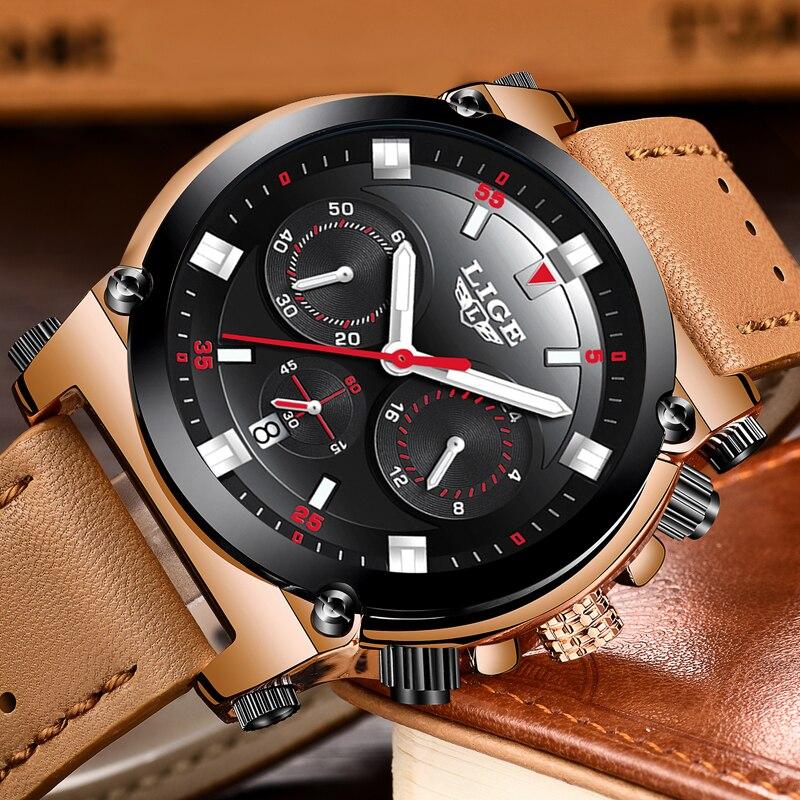 LIGE Watch Men Business Luxury Waterproof Top Brand Watch Fashion Sports Military Leather Quartz Men Watches Relogio Masculino