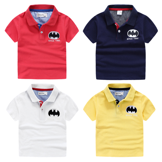 Мальчики ребенок с коротким рукавом рубашки поло 2017 лето ребенок 100% хлопок сплошной цвет моды мальчиков рубашки