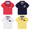 Boys child short-sleeve polo shirts 2017 summer child 100% cotton top solid color fashion boys shirts