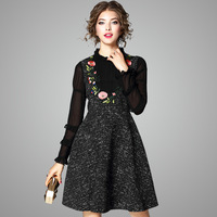 Новые поступления осенние платья с длинными рукавами модные женские дизайнерские Подиумные платья 2017 леди цветочной вышивкой Алина повсед...