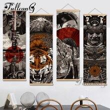 FULLCANG diy 4pcs/set diamond embroidery japanese painting samurai large triptych mosaic full square/round drill gift FC829