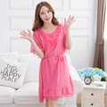 Hot free shipping women's home dress for sleeping summer sweet princess sleeping dress skirt waist loose  pink red nightdress