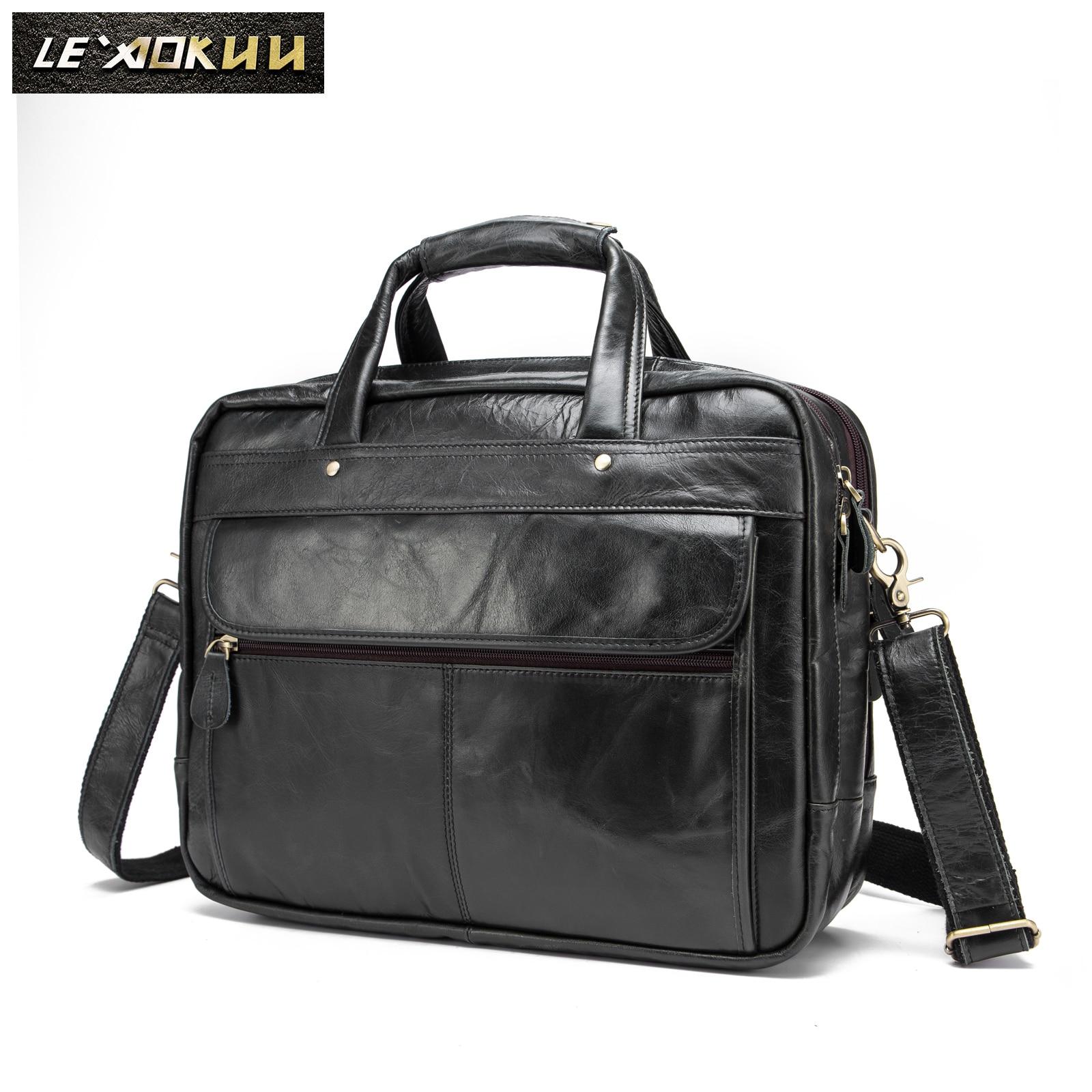 Men Oil Waxy Leather Antique Design Business Briefcase Laptop Document Case Fashion Attache Messenger Bag Tote Portfolio 7146bb