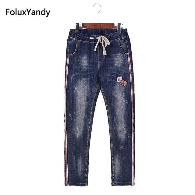 c2b691c131e85 European Style Jeans Women Plus Size 3 4 XL Casual Elastic Slim Striped  Bleached Denim Pencil Pants Trousers Blue SWM636